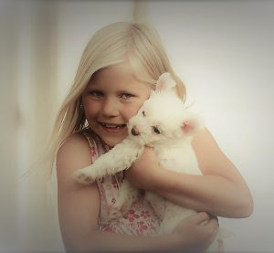 hund og barn hos lykkedyra